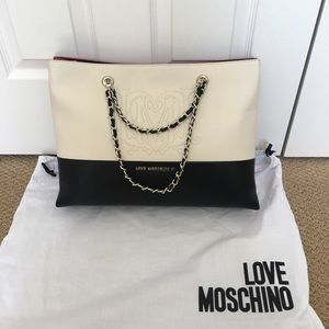 Love Moschino Large Tote Nwot Black,Red and White